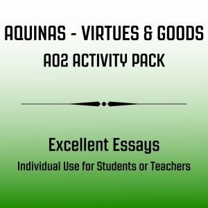 Aquinas Virtues & Goods - Excellent Essay Activity Pack Image