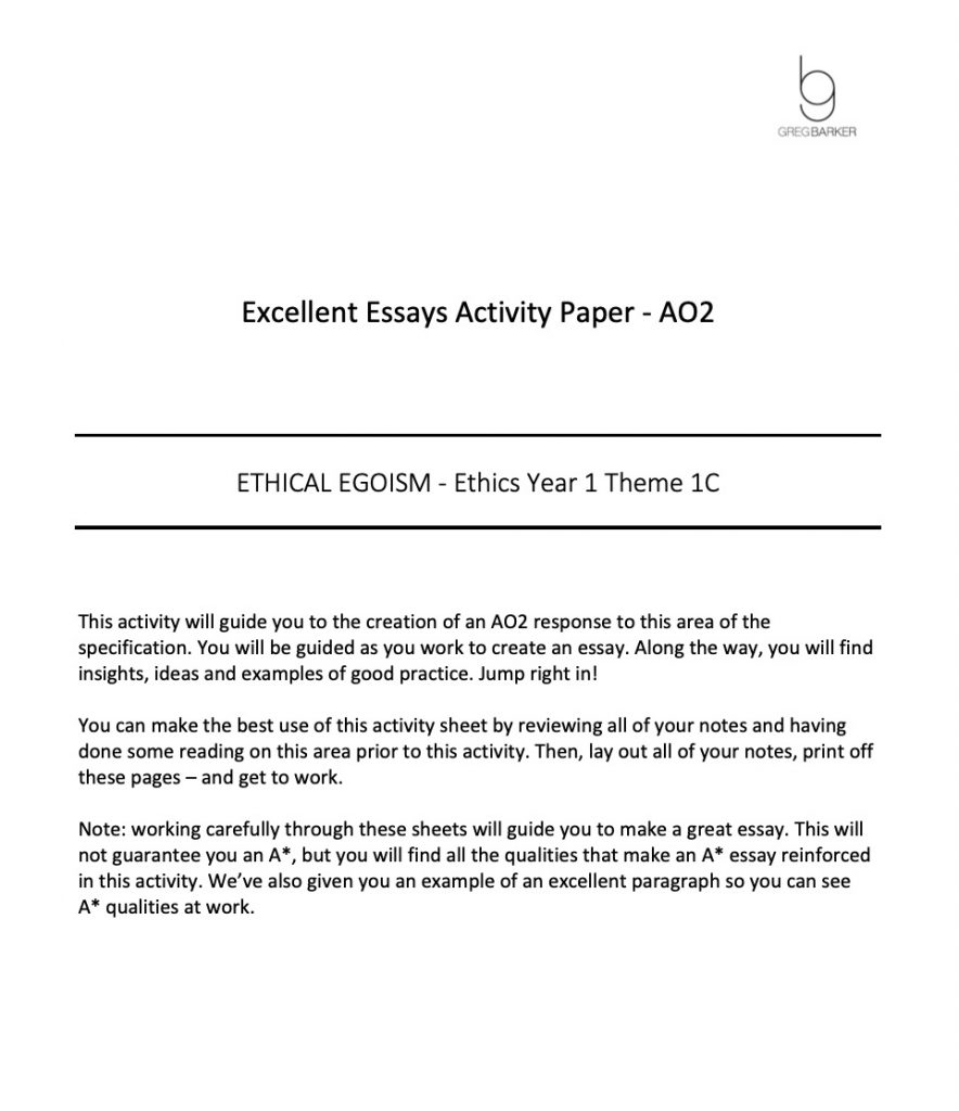 Ethical Egoism Essay Pack Preview of PDF