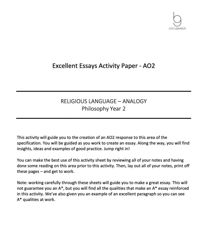 Religious Language - Analogy Excellent Essay Pack for Students -Preview Image