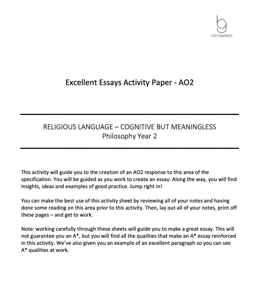 Excellent Essay Pack - cognitive but meaningless Preview