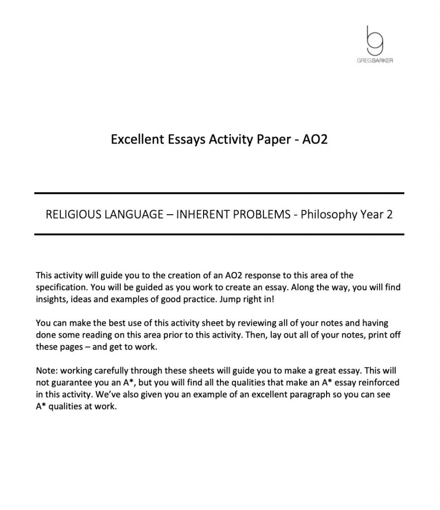 Excellent Essay Pack Religious Language Inherent Problems Preview Image AO2