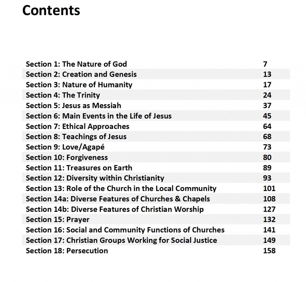 The Table of Contents for the Complete Workbook Unit 1A Christianity WJEC GCSE
